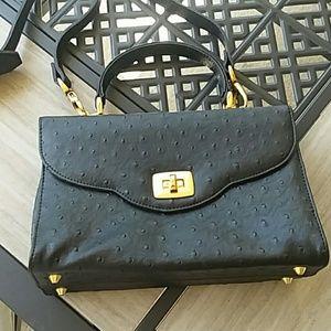 Comeco Ostrich Black handbag